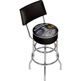 Chicago Blackhawks Bar Stool with Back - 2015 Stanley Cup Champs