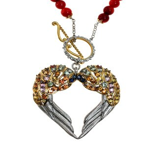 Michael Valitutti Mulit-Sapphire and Red Coral Necklace