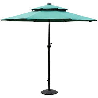 Adeco Patio Market Aluminum LED Light Umbrella