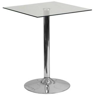 23.5'' Round Adjustable Height Glass Table (Adjustable Range 33.5'' - 41'')