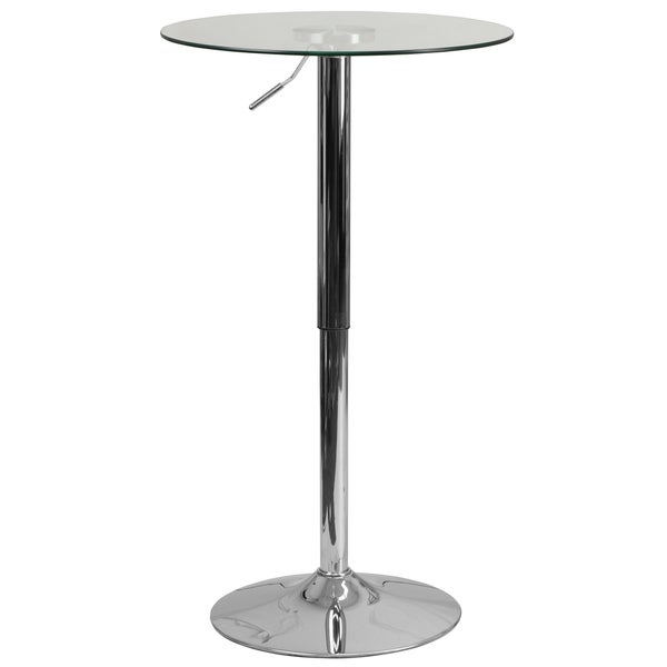 Round Adjustable Glass Table