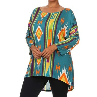 MOA Collection Women's Plus Size Tribal Print Tunic