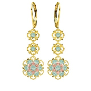 Lucia Costin .925 Silver, Mint Blue Austrian Crystal Earrings