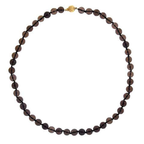 14k Yellow Gold Smoky Quartz 17.5-inch Bead Necklace - Brown