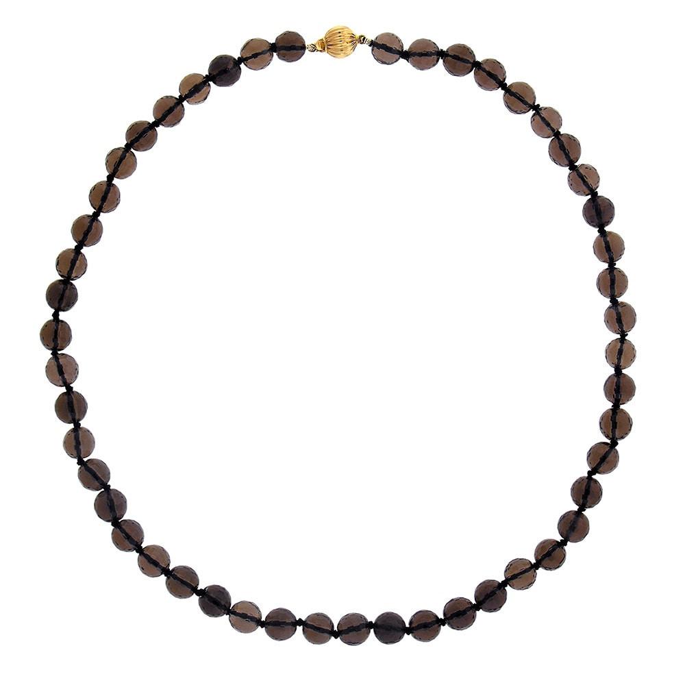 14k Yellow Gold Smoky Quartz 17.5-inch Bead Necklace - Br...