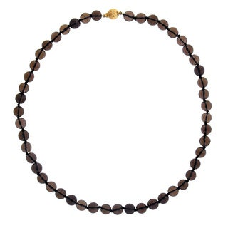 14k Yellow Gold Smoky Quartz 17.5-inch Bead Necklace