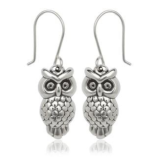 Sterling Silver Owl Drop Hook Earrings
