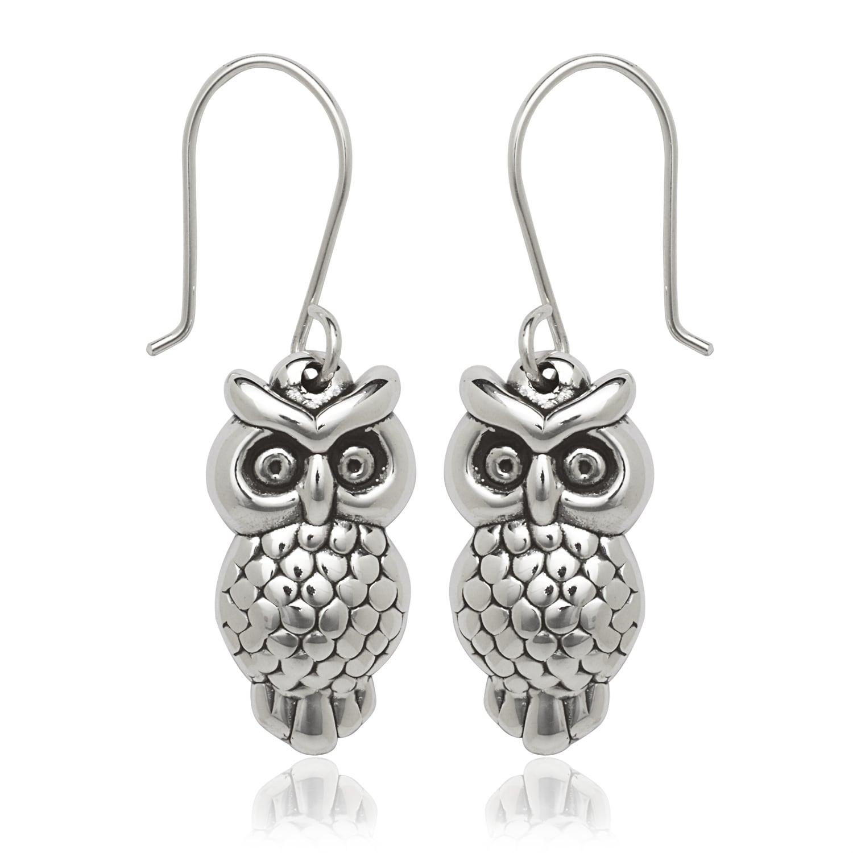 snow white owl dangle earrings White Owl drop Earrings oxidized sterling silver drop earrings