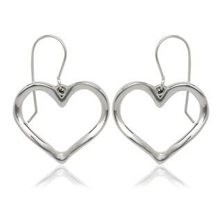 Sterling Silver Large Open Heart Drop Hook Earrings