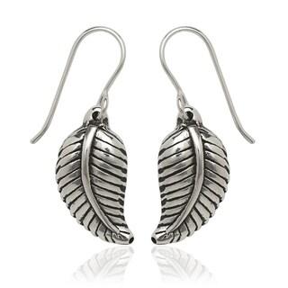 Sterling Silver Feather Drop Hook Earrings