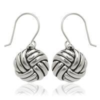 Sterling Silver Love-knot Drop Hook Earrings - White