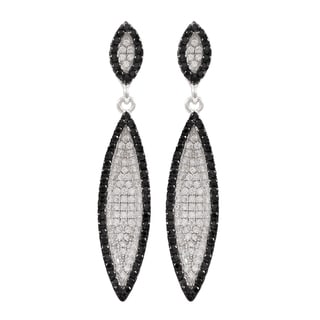 Luxiro Two-tone Sterling Silver Micropave Cubic Zirconia Marquise Halo Dangle Earrings