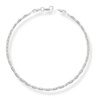 Sterling Silver Italian 10-inch 3mm Anchor Mariner Chain Anklet