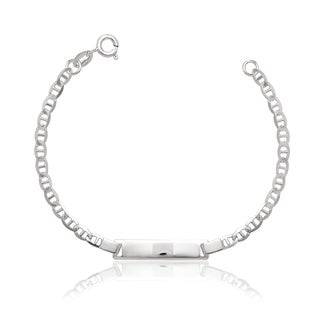Sterling Silver Childrens 6-inch Italian Anchor ID Bracelet