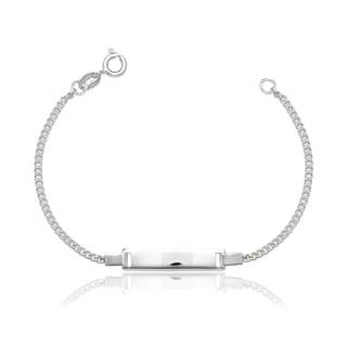 Sterling Silver Childrens 6-inch Italian Curb ID Bracelet