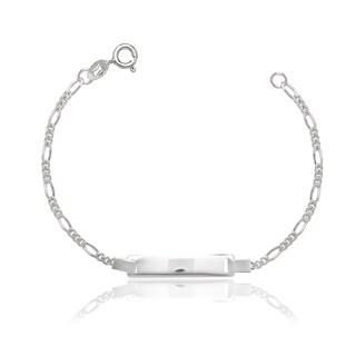 Sterling Silver Childrens 6-inch Italian Figaro ID Bracelet