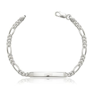 Sterling Silver 7-inch Italian Figaro ID Bracelet