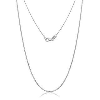 10k White Gold Gourmette Chain Necklace