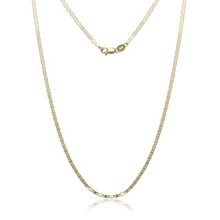"10k Yellow gold Flat Mariner Chain Necklace (16""-24"")"