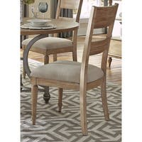 Harbor View Sand Cottage Slat Back Linen Seat Dining Chair (Set of 2)