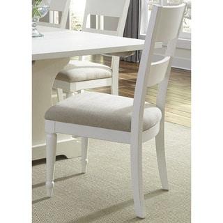 Cottage Harbor White Slat Back Linen Seat Dining Chair (Set of 2)