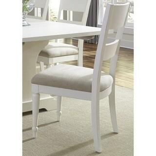 Cottage Harbor White Slat Back Linen Seat Side Chair