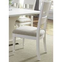 Cottage Harbor White Slat Back Linen Seat Dining Chair
