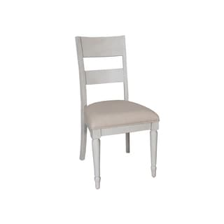 Cottage Harbor Dove Grey Slat Back Linen Seat Side Chair