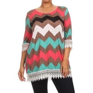 MOA Collection Women's Plus Size Chevron Top with Lace Crochet Trim