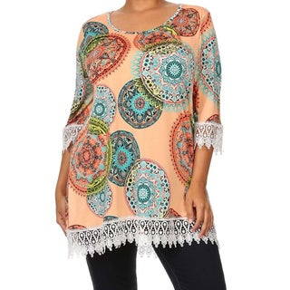 MOA Collection Women's Plus Size Top with Lace Crochet Trim