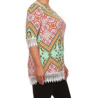 MOA Collection Women's Plus Size Top with Crochet Trim