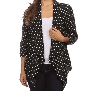 MOA Collection Women's Plus Size Polka Dot Open Cardigan