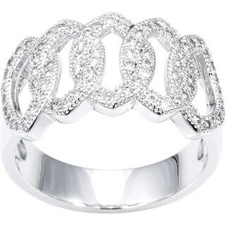 Simon Frank Silvertone Interlocking Hand Set High Fashion CZ Ring