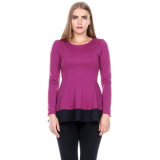 Stanzino Women's Colorblock Long Sleeve Round Neck Tunic Peplum Top