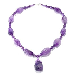 Sterling Silver Amethyst Nugget Beaded Necklace