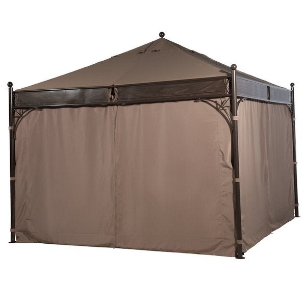 Abba Patio 12 X 12 Ft Outdoor Art Steel Frame Garden Party Canopy Backyard  Gazebo With 4 Side Walls, Brown   Free Shipping Today   Overstock.com    17709748