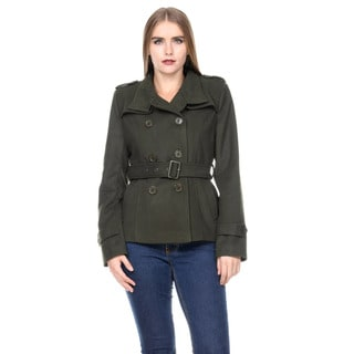 Stanzino Women's Double Breasted Belted Long Sleeve Military Coat