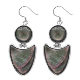 Sterling Silver River Shell Dangle Earrings.