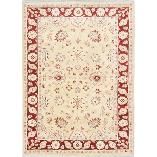 Ecarpetgallery Finest Agra Jaipur Yellow Wool Area Rug (5' x 8')