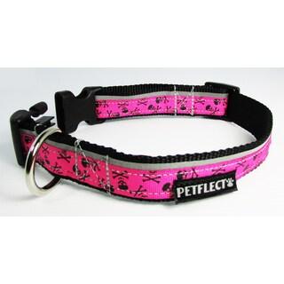 Petflect Pink Skull and Cross Bones Reflective Dog Collar