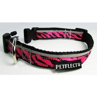 Petflect Pink Zebra Reflective Dog Collar