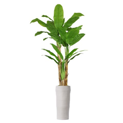 93-inch Tall Banana Tree with Real Touch Leaves in Planter - 93""