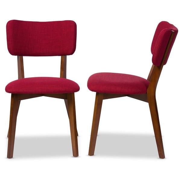 Baxton Studio Monaco Mid-century Scandinavian Style Dark Walnut Finish and Red Fabric Upholstered Di