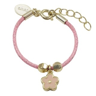 Luxiro Gold Finish Children's Pink Enamel Flower Charm Cord Bracelet