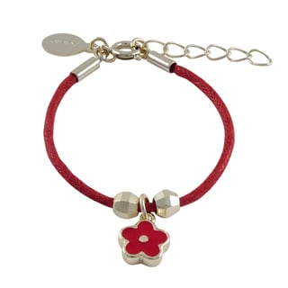 Luxiro Gold Finish Children's Red Enamel Flower Charm Cord Bracelet