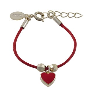 Luxiro Gold Finish Children's Red Enamel Heart Charm Cord Bracelet