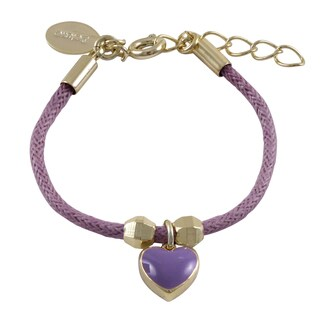 Luxiro Gold Finish Children's Purple Enamel Heart Charm Cord Bracelet