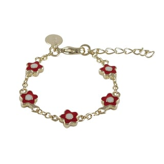 Luxiro Gold Finish Girls Red Enamel Flower Bracelet