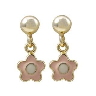 Gold Finish Girls Enamel Flower Dangle Earrings