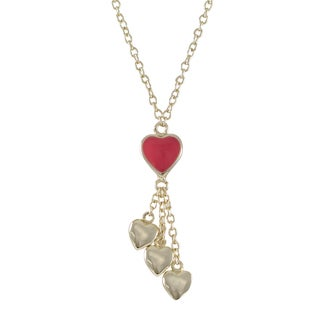 Luxiro Gold Finish Girl's Enamel Heart Tassel Necklace